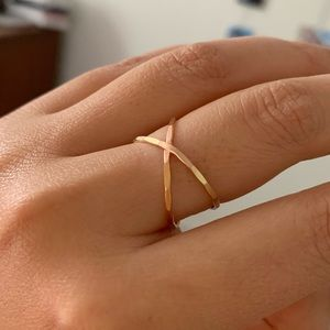 Gold & rose gold-plated criss cross ring